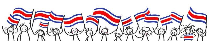 Rozweselający tłumu szczęśliwe kij postacie z Costa Rican flaga państowowa, uśmiecha się Costa Rica zwolenników, sportów fan ilustracja wektor