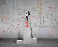 Rozweselający na podium z biznesowymi doodles Fotografia Stock