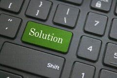 Rozwiązania słowo na czarnej komputerowej klawiaturze Zdjęcia Stock