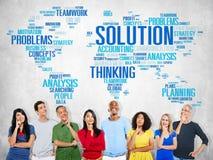Rozwiązanie Rozwiązuje Problemowego strategia wzroku decyzi pojęcie Obrazy Stock