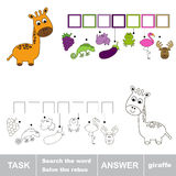 Rozwiązuje rebus Znalezisko chujący słowo żyrafa ilustracja wektor