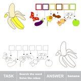 Rozwiązuje rebus Znalezisko chujący słowo banan ilustracja wektor