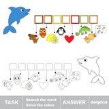 Rozwiązuje rebus Znalezisko chujący słowo delfin royalty ilustracja