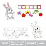 Rozwiązuje rebus Znalezisko chujący słowo królik ilustracja wektor