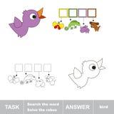 Rozwiązuje rebus Znalezisko chujący słowo ptak ilustracji