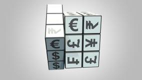 Rozwiązywać Rubik sześcian od dolara euro znaki Rynek walutowy powiązana konceptualna 3D animacja zdjęcie wideo