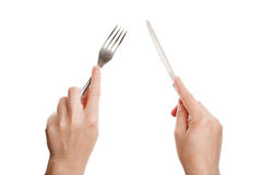 rozwidla ręki nożowe Fotografia Stock
