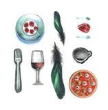 Rozwidla talerza piórka filiżanka pizzy wino zrobił od serca malował z barwionymi ołówkami na białym tło rysunku royalty ilustracja
