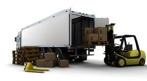 rozwidlenia odosobniony dźwignięcia ciężarówki biel kolor żółty ilustracji