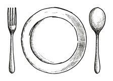 Rozwidlenie łyżka i talerz rysunek Cutlery wektoru ilustracja royalty ilustracja