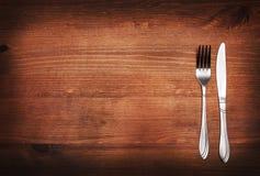 Rozwidlenie i nóż na stole Obraz Royalty Free