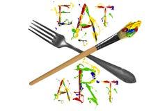 Rozwidlenie, paintbrush i kolorowy slogan, ilustracji