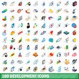 100 rozwojów ikon ustawiających, isometric 3d styl Obraz Stock