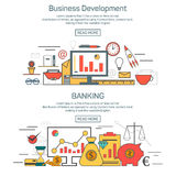 Rozwoju biznesu i bankowości sztandaru pojęcia w liniowym stylowym projekcie Cienieje kreskową wektorową ilustrację ilustracja wektor