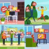 Rozzłościć Intruzyjny reklamy ikony set ilustracji