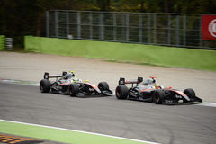 RP Motorsport Formula V8 3.5 cars at Monza. RP Motorsport team Dallara-Renault Cars during the 2016 race at the Autodromo Nazionale Monza Royalty Free Stock Photos