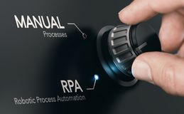 RPA, Robotic Process Automation and Artificial Intelligence stock photo