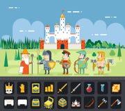 RPG冒险流动片剂个人计算机网比赛屏幕 免版税库存图片