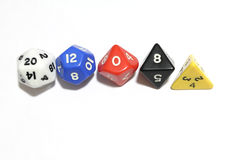 RPG dice. Dice used to play RPG game. White background Stock Image