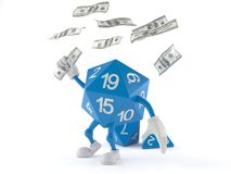 RPG dice character catching money royalty free illustration
