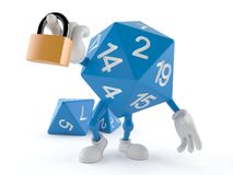 RPG dice character with padlock. Isolated on white background. 3d illustration Stock Images