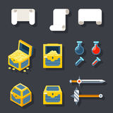 RPG Game Accessories Icons Set Scrolls Treasure. Chests Potions Weapons Flat design Icon Template Vector Illustration Stock Photo