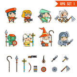 RPG Game Fantasy Character Vector Icons Set Illustration Royalty Free Stock Photography