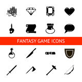 RPG game icons set potions, buttons, weapons, scrolls, money, crystals, books, warrior, mage vector illustration. Game icons set potions,  crystals, books Stock Image