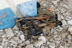 RPG-7 grenade launchers. On the rocks in the destroyed building Stock Photography