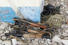 RPG-7 grenade launchers. On the rocks in the destroyed building Stock Image