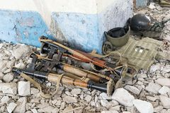 RPG-7 grenade launchers. On the rocks in the destroyed building Stock Photos