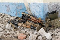 RPG-7 grenade launchers. On the rocks in the destroyed building Royalty Free Stock Images