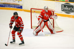 RPI Goalie #33 in NCAA Hockey Game Stock Photo