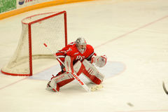 RPI Goalie #33 in NCAA Hockey Game Stock Photography
