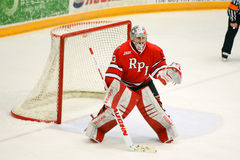 RPI Goalie #33 in NCAA Hockeyspel Stock Foto's