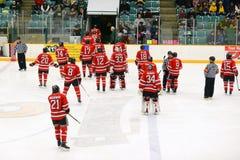 RPI spelare i NCAA-hockeylek Royaltyfri Fotografi