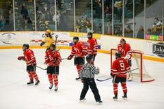 RPI spelare i NCAA-hockeylek Royaltyfri Foto