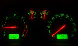 Rpm. Lighted indicators in a car Royalty Free Stock Image