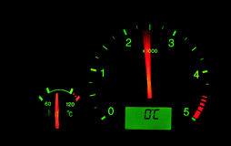 Rpm meter in a car. Rpm meter indicator illuminated in a car dashboard Royalty Free Stock Image
