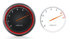 RPM meters isolated on white background. 3D illustration.  Stock Photos