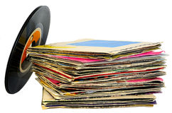 45 rpm vinyl discs stack Royalty Free Stock Photos