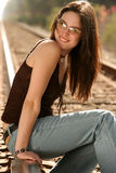 RR brunette looking over shoulder Stock Photography