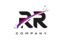 RR R Czarnego listu loga projekt z Purpurowym Magenta Swoosh royalty ilustracja