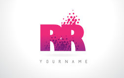 RR R Letter Logo with Pink Purple Color and Particles Dots Desig Royalty Free Stock Photo