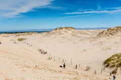 Rörande dyn parkerar nära Östersjön i Leba, Polen Arkivfoto
