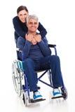 Rörelsehindrad make för fru Arkivbilder