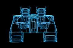 Rrendered blue xray transparent binoculars. 3D rendered blue xray transparent binoculars Stock Photography