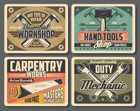 Rrepair and carpentry work tools. Workshop and carpentry tools, retro design. Hammer and wrench, spanner and saw vector tools. Construction and repair work royalty free illustration