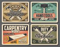 Rrepair y herramientas del trabajo de la carpintería libre illustration