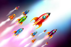 Rrockets ship flying in the space.Vector Illustration Stock Images